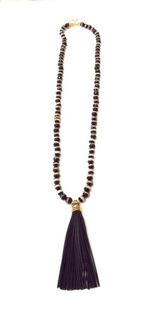 peyton william - Black and White Agate Tassel Necklace