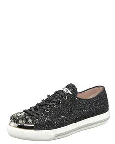 Bejeweled Glitter Sneaker by Miu Miu at Bergdorf Goodman.