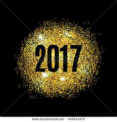 Gold glitter Happy New Year 2017 background. Glittering texture. Gold sparkles…