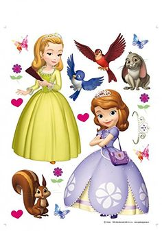 Sofia The First Poster-Sticker Wall-Tattoo - Characters, Princess Amber, Clover, Whatnaught, Mia And Robin (34 x 26 inches)