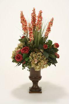 9883# - Burgundy Roses, Sage Hydrangeas and Greenery in a Dark Classic Urn - Distinctive Designs