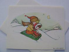Vintage Christmas Greeting Card - Sledding Sweeties  - Unused with Envelope - Joan Walsh Anglund Juvenile Christmas Card on Etsy, $5.00
