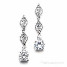 """These dainty styles are also the perfect prom, homecoming and bridesmaids earrings. These rhodium plated bridal and prom pierced earrings measure 1 3/16"""" long"""