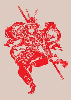 traditional chinese paper cut designs by beijing's creative NOD YOUNG /// NeochaEDGE Illustrations, Illustration Art, Chinese Paper Cutting, Monkey Tattoos, King Tattoos, Journey To The West, Paper Cut Design, Year Of The Monkey, Monkey King