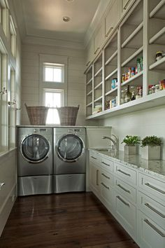 Laundry room plus pantry. Combining a pantry with the laundry room means you'll have one walk-in space instead of two regular closet-size spaces.