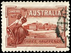 On May 1927 Australia's first commemorative stamp was introduced to mark the opening of the first Parliament House in Canberra. Since then issues have appeared regularly commemorating landmarks in Australian history and Australian achievements. Vintage Maps, Vintage Posters, Commemorative Stamps, First Day Covers, Stamp Collecting, Postage Stamps, History, Parliament House, Pictures