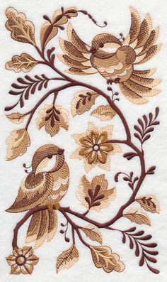 Delft Chickadees in Autumn design (K3799) from www.Emblibrary.com