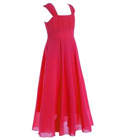 iEFiEL Junior Bridesmaid Dresses Girl Flower Wedding Chiffon A-line Butterfly Sleeves Party Dress Red 11-12 Years
