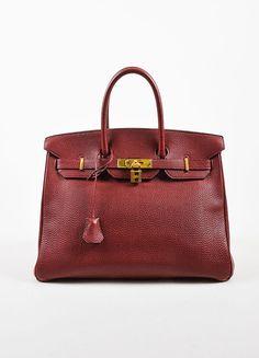"Hermes Dark Red ""Rouge"" Clemence Leather Flap ""Birkin"" Bag"