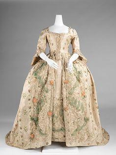 Dress (Robe à la Française), French, 1770-75, silk. Metropolitan Museum of Art.