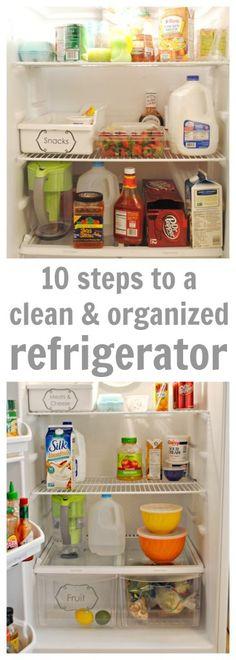 10 Steps to a clean and organized fridge! - www.classyclutter.net