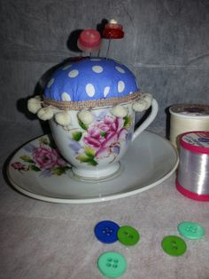 Pincushion in a vintage china cup https://www.etsy.com/listing/167938319/pincushion-in-a-vintage-cup-and-saucer