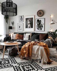 Boho Living Room Decor, Living Room On A Budget, Home Living Room, Apartment Living, Living Room Designs, Cool Living Room Ideas, Cozy Living Rooms, Boho Room, Living Room Decor Frames