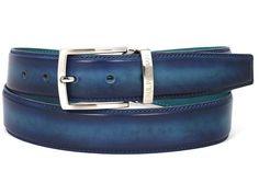 PAUL PARKMAN Men's Leather Belt Dual Tone Blue & Turquoise