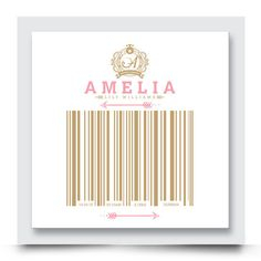 Unique BIRTH CODE nursery artwork for girls rooms. Choose your favourite colour combination from this typographically designed barcode wall art. Order your own personalised artwork today at http://www.madicleo.com/collections/wall-art-for-girls-rooms/products/barcode-names-collection