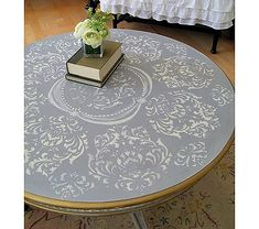 Pretty French Inspired Table Redo --- Would love to do this with my cheap table in a green.