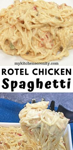 Easy Rotel Chicken Spaghetti Creamy chicken spaghetti made with rotisserie chicken, Rotel tomatoes, Velveeta Cheese, and cream of mushroom and cream of chicken soups. This easy chicken spaghetti recipe is ready in 30 minutes. This is serious comfort food! Huhn Spaghetti, Rotel Chicken Spaghetti, Sauce Spaghetti, Healthy Chicken Spaghetti, Creamy Spaghetti, White Spaghetti Recipe, Cream Cheese Spaghetti, Recipes With Velveeta Cheese, Homemade Dog Food