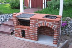 Grilli ja kaasupoltin Backyard Kitchen, Fire Pit Backyard, Outdoor Kitchen Design, Patio Design, Backyard Patio, Backyard Landscaping, Garden Fountains For Sale, Rustic Outdoor Spaces, Brick Grill