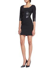 Wedding guest dress idea 3/4-Sleeve Leather-Paneled Dress
