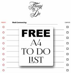 Free A4 To Do List Printable from The World of Suzy Homemaker