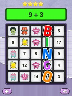 Math Monsters - Bingo ($0.00) The objective of the Math Monsters game is to find the Math Monsters hidden under the tiles as you answer math questions correctly from the available four games.  ★ FEATURES ★ ✔ 4 games: Addition, Subtraction, Multiplication and Division. ✔ 3 difficulty levels: Easy, Medium and Hard to suit your individual needs. ✔ Unlimited Player Profiles! ✔ Track Games and High Scores per Player!