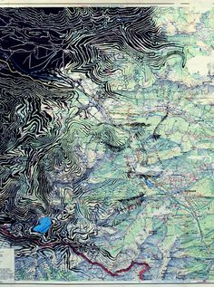 "Ed Fairburn, ""Lüner See,"" pen and ink… Art Altéré, Ap Art, Abstract Portrait, Portrait Art, Ed Fairburn, Map Painting, Ap Studio Art, A Level Art, Vintage Maps"