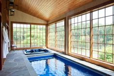These creatively designed indoor swimming pools connect to nature and allow you to enjoy the outdoors no matter what the weather.