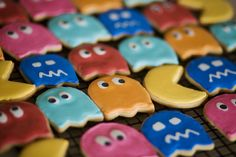colorful, colors, cookies, food, ghosts, pacman