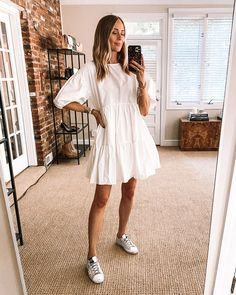 Mom Outfits, Fashion Outfits, Summer Outfits, Modest Outfits, Dress And Sneakers Outfit, Friday Outfit, Fashion Jackson, Target Dresses, White Dress Summer