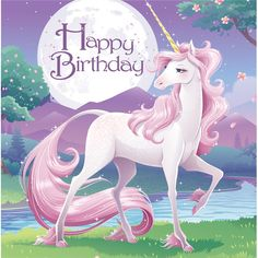 Descriptions Unicorn Fantasy 2 Ply Lunch Napkins Happy Birthday/Case of 192 - Design : Unicorn Fantasy - Capacity : 2 PLY Features - Occasion Girl Birthday - Folded Size approximately 5 inch square -