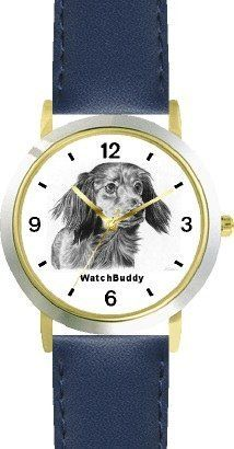 Dachshund-Longhaired (SC) Dog - WATCHBUDDY® CLASSIC DELUXE TWO-TONE THEME WATCH - Arabic Numbers-Blue Leather Strap-Children's Size-Small ( Boy's Size & Girl's Size ) WatchBuddy. $49.95