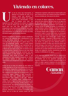 Estamos en las aguas de la comunicación y de la creatividad. Estamos viviendo en colores. GamanMagazine#3