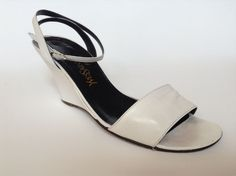 Yves Saint Laurent YSL Women's Shoes Size 10 M White Sandals Wedge Heel #YvesSaintLaurent #PumpsHeels