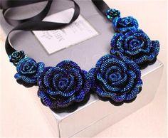 Blue Crystal Rose Choker - Goth-N-Alt - 1
