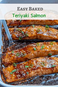 Homemade teriyaki sauce baked to perfection. Makes for a perfect lunch or dinner recipe that can be ready in less than minutes. via Flaky and tender salmon with a delicious homemade teriyaki sauce, baked to perfection for an easy healthy dinner option. Healthy Recipes, Easy Healthy Dinners, Healthy Baking, Lunch Recipes, Recipes Dinner, Asian Recipes, Crockpot Recipes, Baked Salmon Recipes Healthy, Best Salmon Recipe Baked