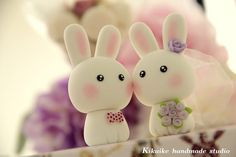 Bride & groom bunny cake toppers
