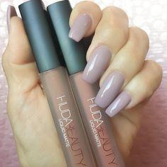 Huda Beauty liquid matte lipsticks and purple nails for weekend beauty inspiration. #makeup #hudabeauty #lipstick #mattelips #nails#nailswag #mattenails #longnails #manicure #fabfashionfix