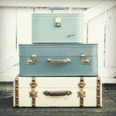 Old suitcases stacked up to make end tables (also useful to store things in, while not in use).