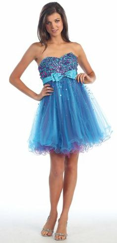 Amazon.com: Strapless Cocktail Party Junior Prom Dress #2937: Clothing