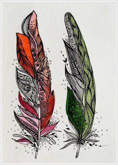 Gallery.ru / Фото #63 - Zentangle. - Vladikana Henna Feather, Feather Art, Feather Pattern, Mandala Pattern, Pyrography Patterns, Watercolor Feather, Native American Design, Zentangle Drawings, Ink Painting