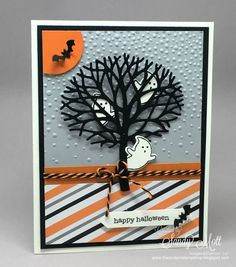 handmade Halloween card ... die cut leafless tree with adorable cut out ghosts hanging about ... Stampin' Up!