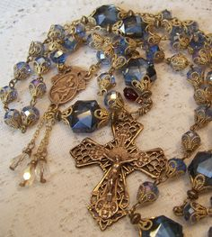 French Rosary Handmade Our Lady Mt Carmel~ Sacred Heart 8mm Blue Crystal Bronze