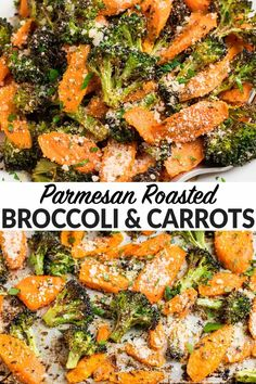 The best Roasted Broccoli and Carrots with Parmesan in the oven. Tender inside and crispy outside, this is the most delicious way to cook vegetables! Veggie Side Dishes, Healthy Side Dishes, Side Dish Recipes, Food Dishes, Veggie Food, Broccoli Side Dishes, Easy Side Dishes, Veggie Recipes Sides, Diabetic Side Dishes