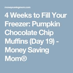 4 Weeks to Fill Your Freezer: Pumpkin Chocolate Chip Muffins (Day 19) - Money Saving Mom®