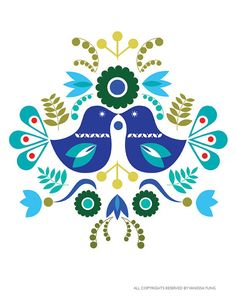 Scandinavian Folk Art Spring Blue love bird by Illustrationpop