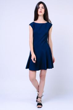 Drop Waist Dress (Navy) Image 2