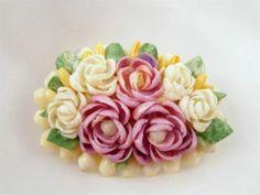 Purple White Handmade Roses Flower Bouquet 1940 Sea Shells VINTAGE PIN