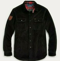 """Leather """"Ralph Lauren Polo"""" skier patch at the right sleeve. """"Polo"""" label at the left chest pocket. Work Shirts, Button Up Shirts, Casual Shirts For Men, Men Casual, Shirt Jacket, Corduroy, Casual Outfits, Polo Ralph Lauren, Downhill Ski"""