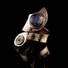 Tribal Swirl Brass Ring with Labradorite Stone, Tribal Ring, Gemstone Ring, Stone Ring, Tribalik Jewellery (Code 311) by TRIBALIK on Etsy