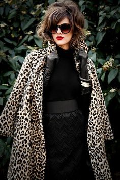 A black lace skirt and sweater with a leopard coat makes this glamour girl look exquisite! Fashion Mode, Fashion Week, Love Fashion, Womens Fashion, Animal Print Fashion, Fashion Prints, Moda Animal Print, Animal Prints, Leopard Prints